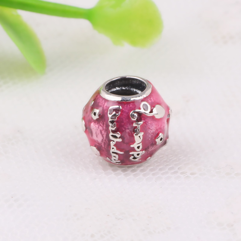 c7ee17347 Couqcy Original 925 Sterling Silver Charm Happy Birthday Charm Cerise Enamel  Beads Fits Pandora Charms Bracelets Women Jewelry-in Beads from Jewelry ...