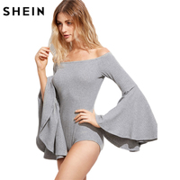 SheIn Grey Women Tops And Blouses 2016 Long Flare Sleeve Off Shoulder Tight Tops Fall Ladies