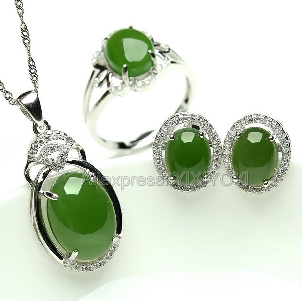 Beautiful 925 Silver Natural Green HeTian Jade Round Beads Dangle Lucky Pendant Neckl;ace Earring Ring Fine Jewelry Set Gift 925 silver natural white white hetian jade beads inlay flower dangle lucky pendant necklace ring elegant woman s jewelry set