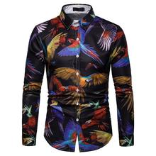 Hawaiian Shirts Camisa social masculina Blouse Men Summer Parrot Print New model Casual Long sleeve