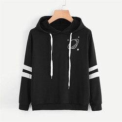 Hoodies Women Sweatshirt Casual Planet Print Striped Long Sleeve Hoody Shirt Blouse Jumper Tops For Female 0912 1