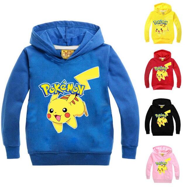 5 Colores Pokemon Go Kids Boy Sudaderas Con Capucha Sudaderas Chica Kids Pokemon Pikachu Con Capucha Ropa de Manga Larga Ropa de Los Niños