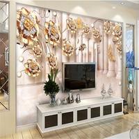 Beibehang עמודה רומית זהב טפט אבן עלה קש פרח 3d המותאם אישית 3D חדר שינה סלון ספת טפט קיר טלוויזיה