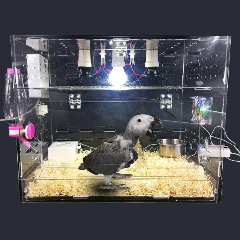 LK688 Intelligent Température Contrôle Oiseau Incubateur Jeune Oiseau Perroquet Isolation de la Boîte de Sélection Transparent Acrylique Cage 50*30*40 cm
