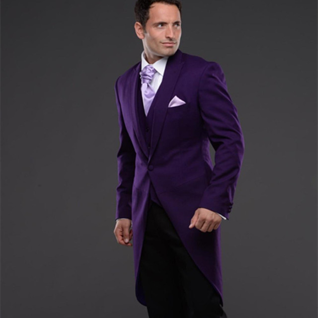 2018 Purple Tailcoat Men S Wedding Tuxedos Groom Suits For Mens 3 Pieces