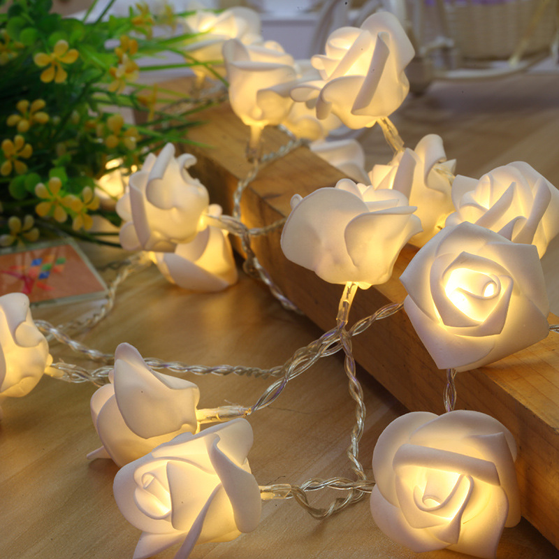 Artificial Rose Flower Festoon Led Lights 20 Leds String
