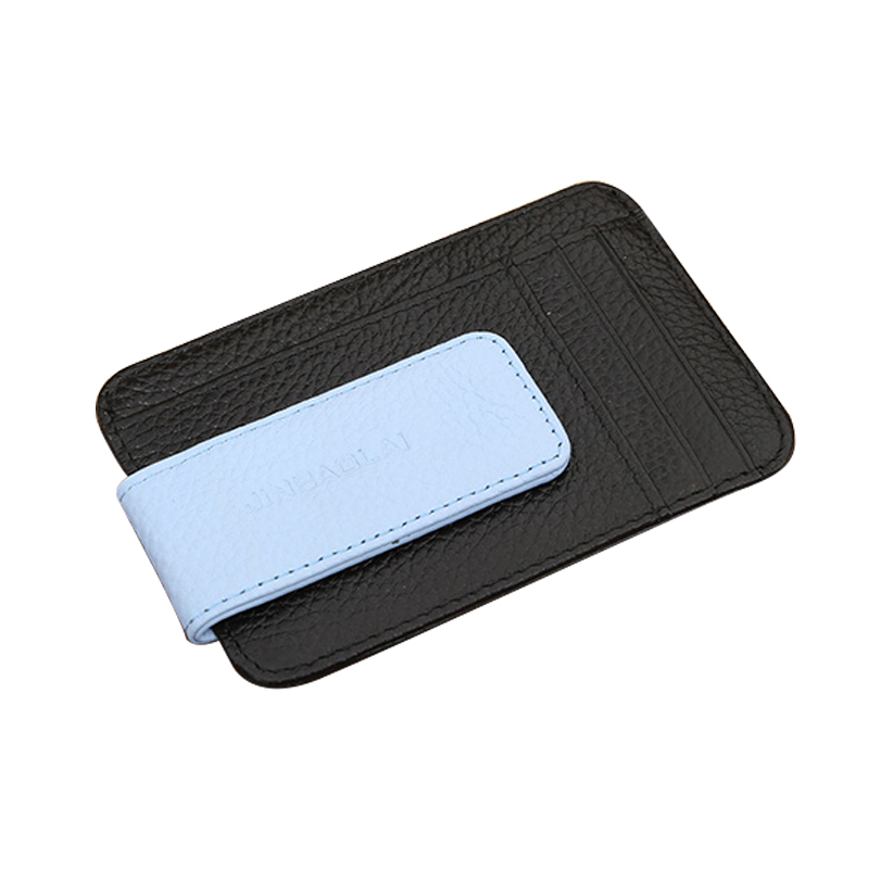 Genuine Leather Slim Wallet Clip with Card Holder Purse Travel Wallet for Credit ID Cards Minimalist Men Wallets