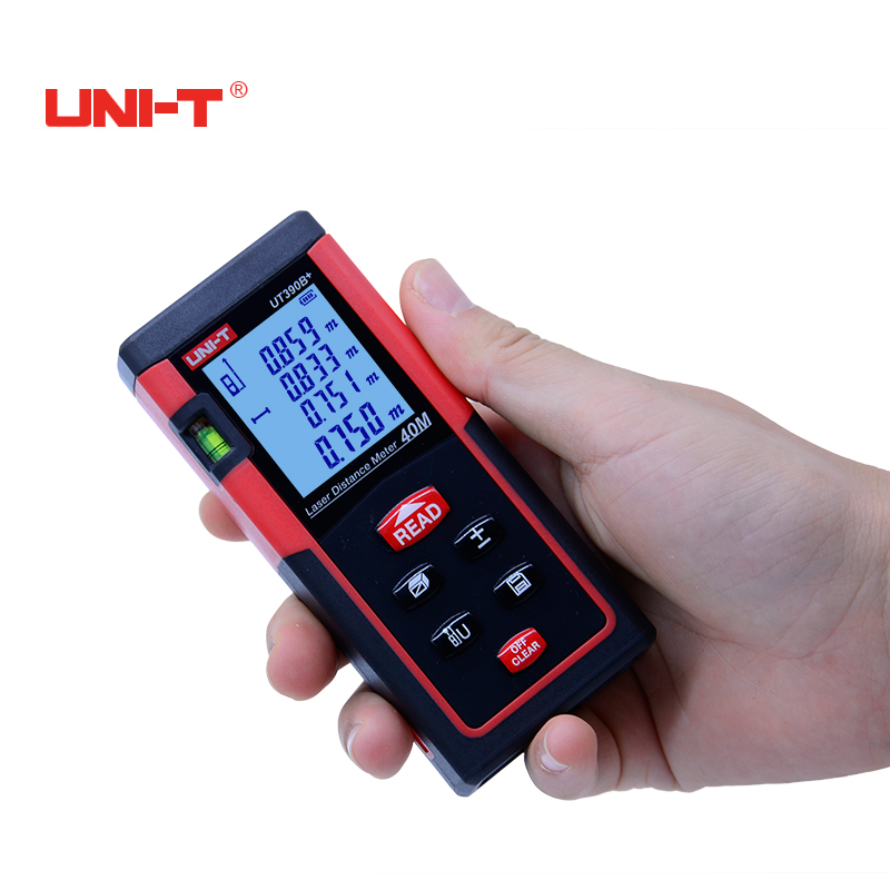 UNI-T UT390B+ 40M Optical Laser Range finder Handheld area measure volume measure telemetre laser distance meter yihm hm 40 1 8 lcd handheld laser distance meter black blue 2 x aaa 0 05 40m