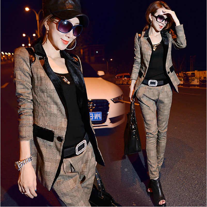 Otoño Invierno moda trajes mujer rejilla edición de dos piezas 1 Unidades  mujeres elásticos 4d41f80ccede