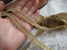 gold lace, golden embroidered lace trim, metiallic fabric, GT003