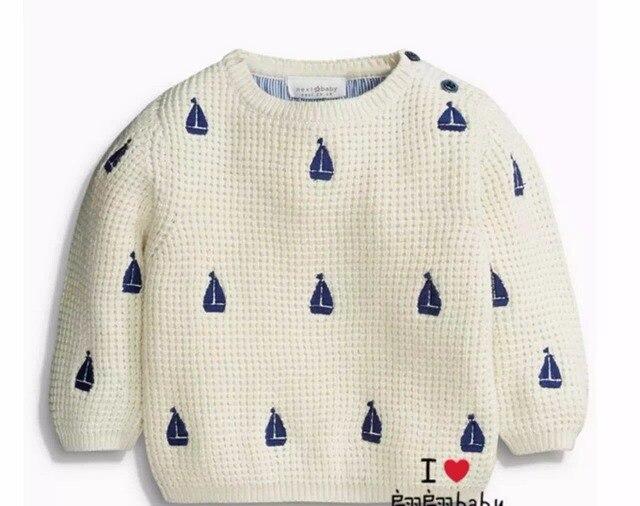 New Baby лодка дизайн вышивки Свитер Мальчиков Чистого хлопка пуловеры свитера оптовая