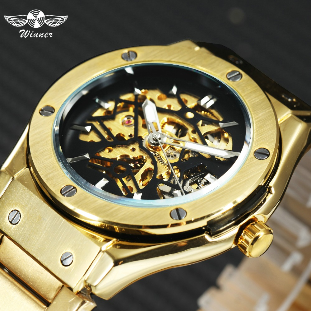 WINNER Golden Mens Watches Top Brand Luxury Auto Mechanical Stainless Steel Strap Skeleton Dial Fashion Business Wrist Watch Me mens mechanical watches top brand luxury watch fashion design black golden watches leather strap skeleton watch with gift box