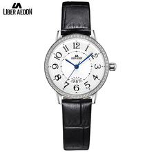 Liber Aedon Fashion Crystal Women Watches Black Leather Band Quartz Causal Dress Party Suit Bracelet Women Watch Gift Relogio