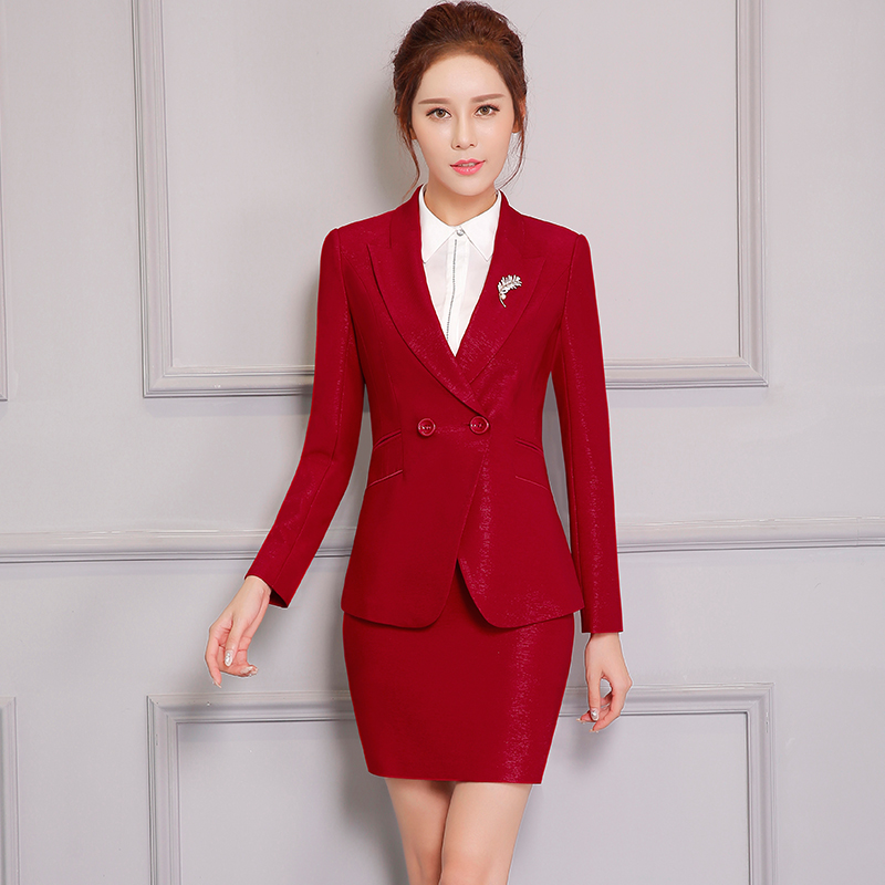 Popular Formal Navy Blue Blazer Women Work Suits With Skirt And Jacket Sets