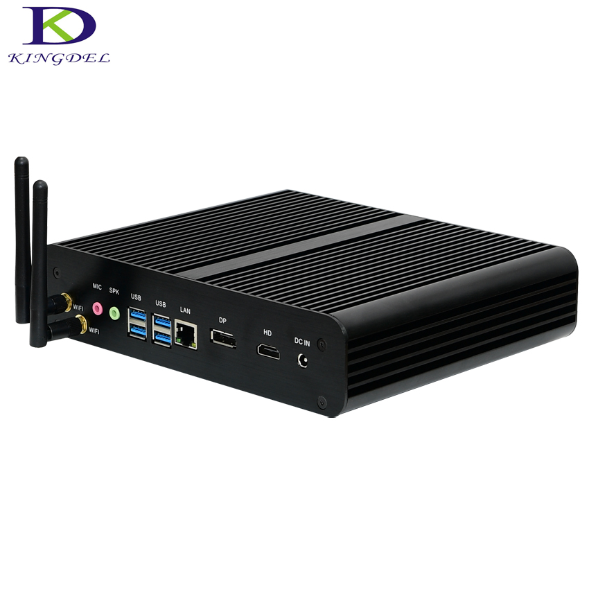 2016 Newest Fanless Mini Desktop PC Intel I7 6500U Ultra HD 4K HTPC With DP HDMI SD Card Reader DirectX 12 OpenGL 4.4 Supported