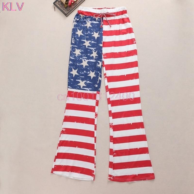 Women Pants Loose American Flag Drawstring Vintage Striped Patchwork Printed Wide Leg Long Pants