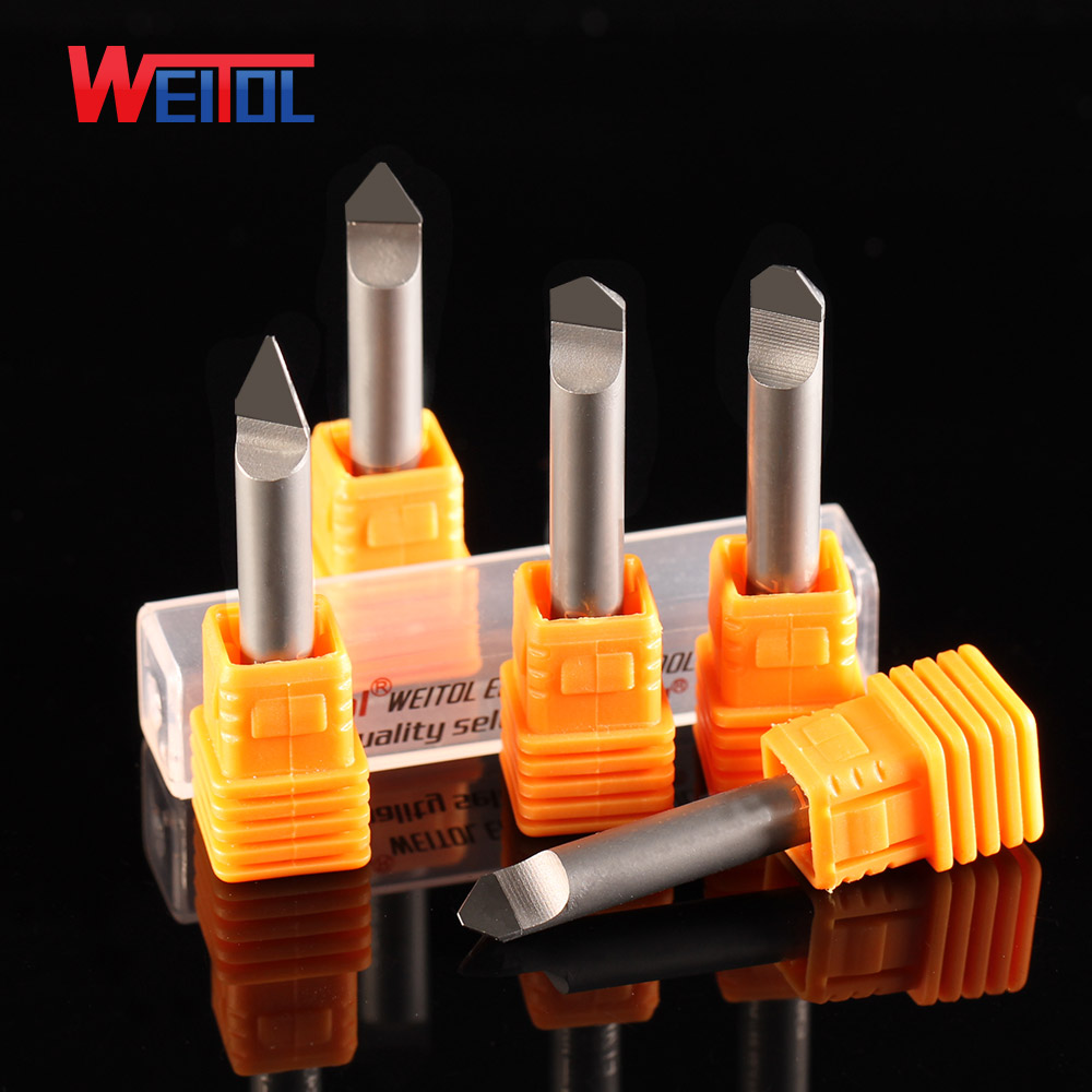 Weitol Free Shipping 5A 1pcs 6mm Diamond Engraving Bits PCD Tools CNC Router Bits For Marble, Granite CNC Stone Carving Cutter