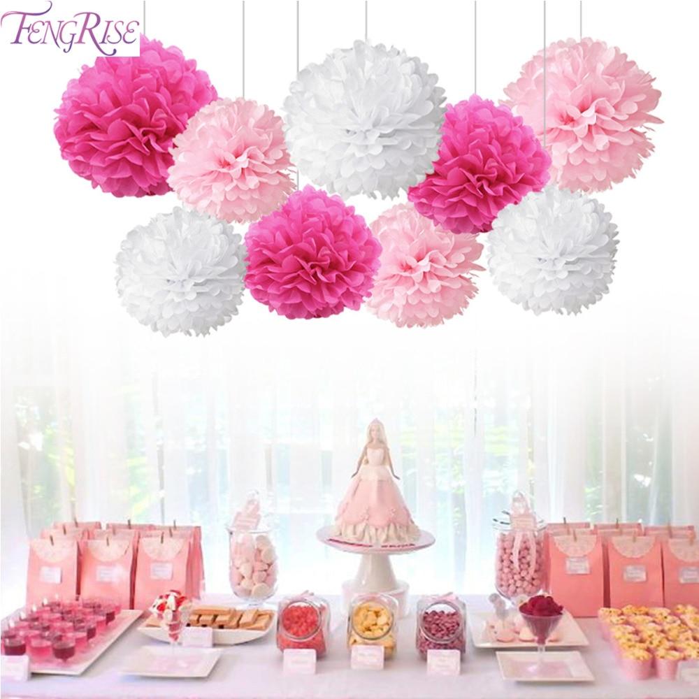 FENGRISE 9pcs Tissue Paper Pompoms Happy Birthday Decoration Paper Pom Poms Balls Flowers Home Decor For Wedding Party Supplies