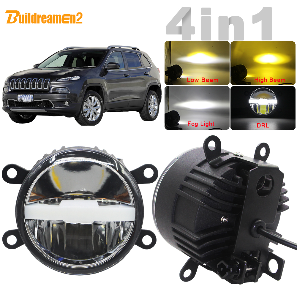 4in1 Car LED Light Headlight High Beam Low Beam Fog Light DRL All In One + Harness Wire For Jeep Cherokee KL 2014 2015 2016