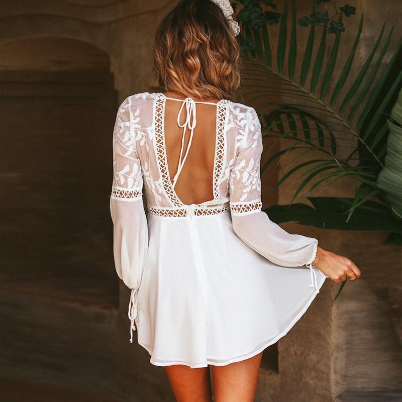 be8a0b04c9 Bohemian Boho Beach Dress Summer Women Hollow Out Crochet Lace Chiffon  Dress White V Neck Long Sleeve Backless Mini Sexy Dress-in Dresses from  Women's ...