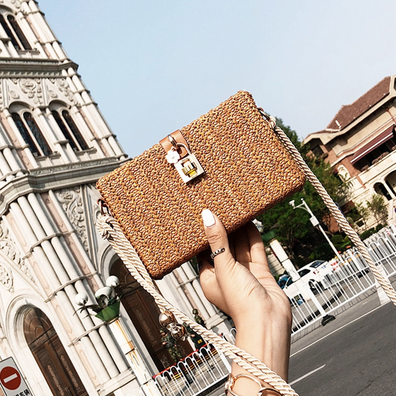 2018 Summer Beach Handbags Women Messenger Bags Square Straw Hand Woven Ladies Crossbody Bag Shoulder Rattan Bags Bolsa Feminina