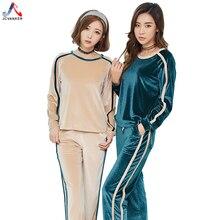 Фотография JCVANKER Elegant Soft Pajamas Set For Women Winter Washed Chiffon Velvet Korea Villous Striped Pattern Pyjamas Suit Sleepwear
