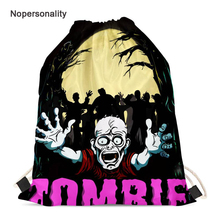 Nopersonality Zombie Print Men Women String Drawstring Bag Male Beach Travel Storage Bag Cinch Sack Kids School Backpack