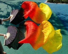 2018 high quality belly dance silk fans handmade hand dyed natural silk 1 pair of belly dancing fans Black + Red  Orange +Yellow