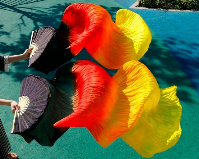 2018 yüksek kaliteli oryantal dans ipek hayranları el yapımı el boyalı doğal ipek 1 çift oryantal dans fanlar siyah + kırmızı turuncu + sarı