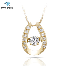 DovEggs Solid 18K 750 Yellow Gold Cneter 0.2ct Diamond Necklace for Women Dancing Pendant