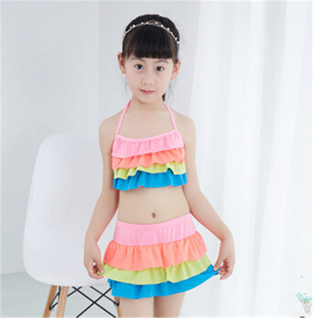 1b21b0a61a1e9 2017 New Baby Girl Ruffle Swim Suits Two pieces Swimwear Girls Beachwear  Bikini Bathing Suit Baby Girl 2-6Y Swimsuit Solid Color
