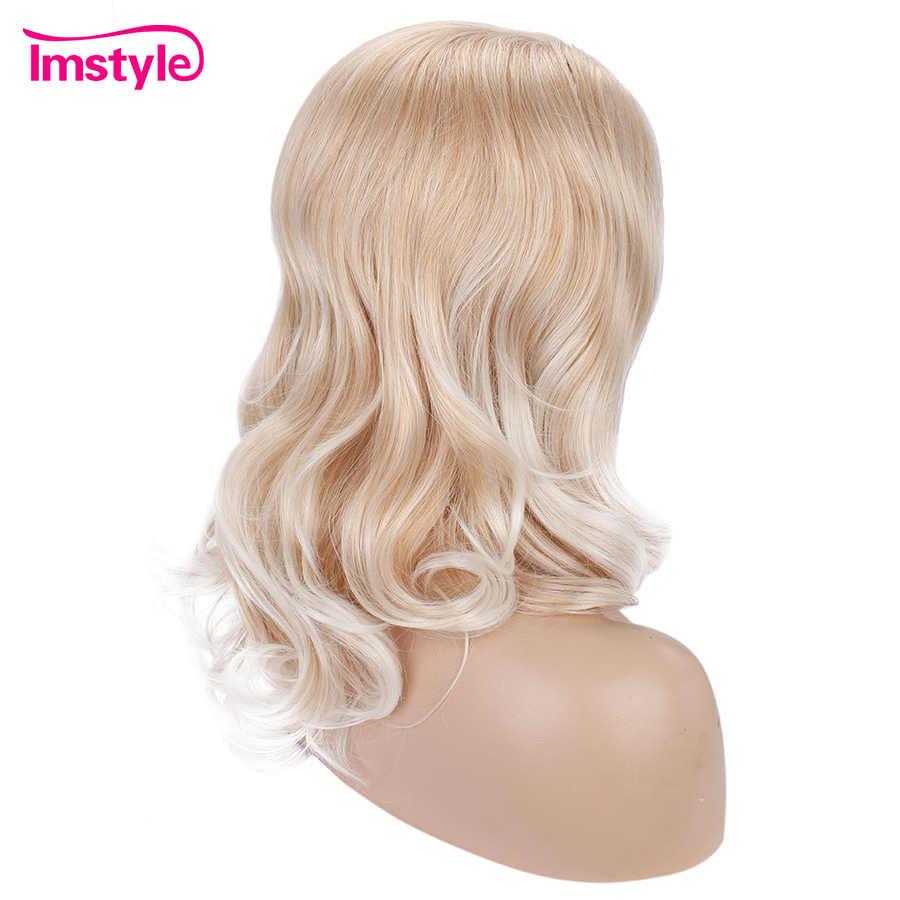 Imstyle Blonde Ombre Witte Pruiken Voor Vrouwen Korte Golvend Synthetische Kant Twee Stad Hittebestendige Vezel Deel Pruiken 16 inch
