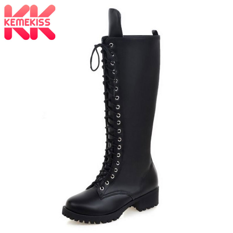 KemeKiss New Designer Womens Square Low Heel Riding Motorcycle Heel Knee High Boots Punk Gothic Platform Lace Up Shoes Size34-43