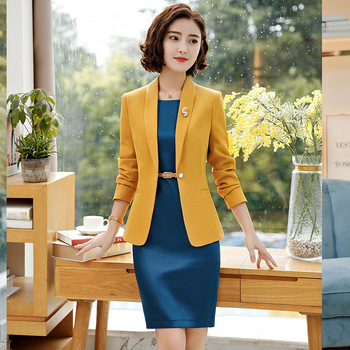 Fmasuth Formal Dress Suits Full Sleeve Slim Jacket+Sleeveless Office Dress Ladies 2018 for Women Suit YY-689-02 formal wear