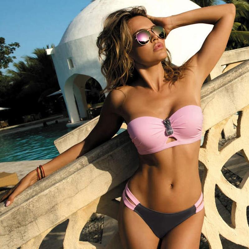 Plus Size Sexy Bikini 2020 Push Up Bikini Set Pink Swimwear Women Micro Swimsuit Female Bandage Innrech Market.com