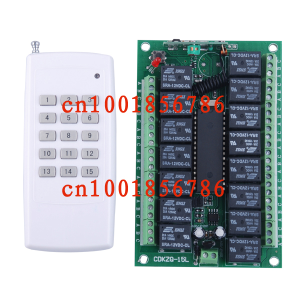 12v 10A 15CH RF wireless remote control switch system receiver & transmitter 315/433mhz output is adjustable dc24v 15ch rf wireless switch remote control system receiver