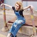 Envío Gratis 2016 Nueva Moda Largo Maxi Vestidos de Mezclilla Para Las Mujeres de Una sola pieza Overoles Jeans S-XL Vestidos Bordados de Dibujos Animados vestido
