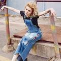 O Envio gratuito de 2016 Nova Moda Jeans Longo Maxi Vestidos Para Mulheres One piece-Jeans S-XL Macacões Vestidos Dos Desenhos Animados do Bordado vestido