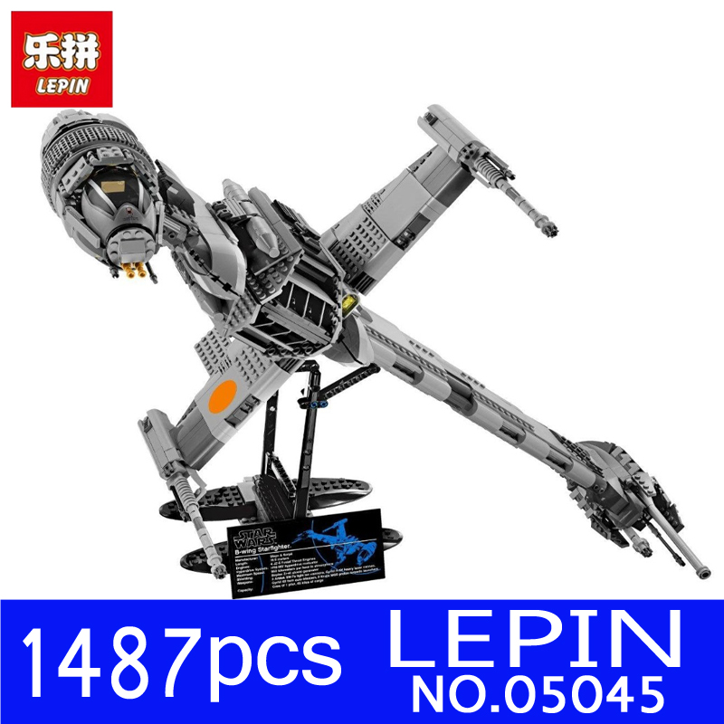 LEPIN 05045 1487pcs Star Genuine Wars Starfighter The B-wing Educational Building Blocks Bricks Toys for Children Gift 10227 lepin 05040 y attack starfighter wing building block assembled brick star series war toys compatible with 10134 educational gift