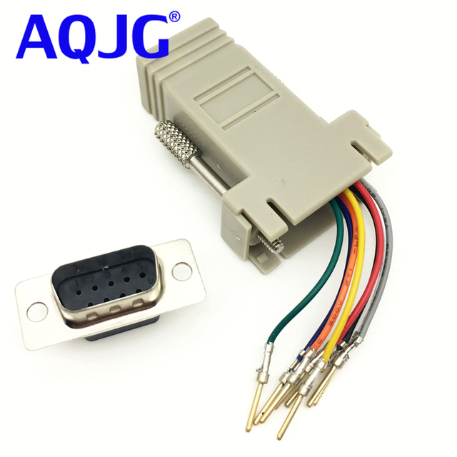 aqjg 10pcs rs232 db9 male to rj45 female connector adapter rj45 toaqjg 10pcs rs232 db9 male to rj45 female connector adapter rj45 to db9 rs232 com lan to 232 db9 rs232 to rj45