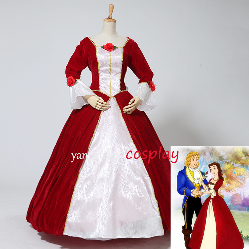 Beauty and the Beast princess Bell cosplay costume belle red dress gown dress