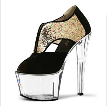 Flash powder color, fish mouth high help single shoes, 17cm high heel shoes and Dance Shoes