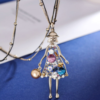 High quality color crystal Princess sweater chain long female fashion style Korean women jewelry girls shape hollow personality