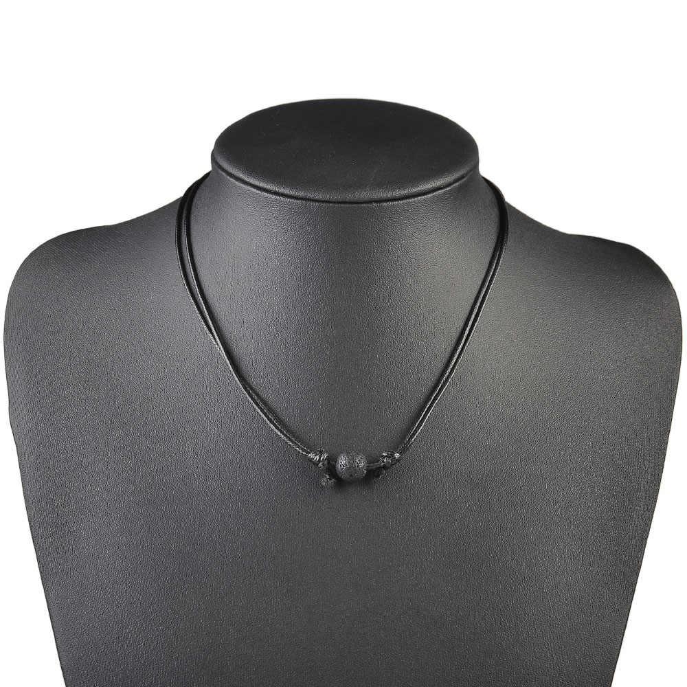 Moda mujer hombre negro Lava piedra roca cuentas aceite esencial difusor cera línea cuerda collar cadena ajustable joyería