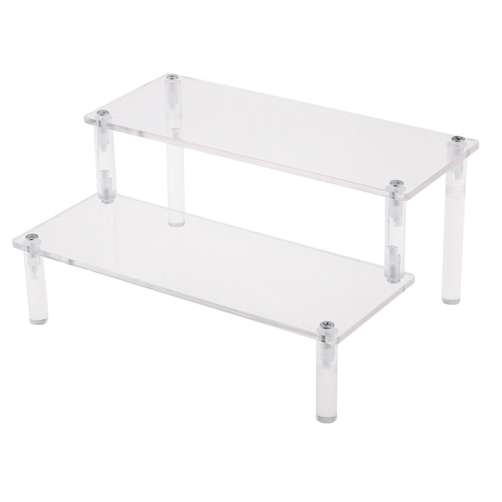 Acrylic Cosmetics Storage Rack Detachable Model Figures Display Stand 2-Tier