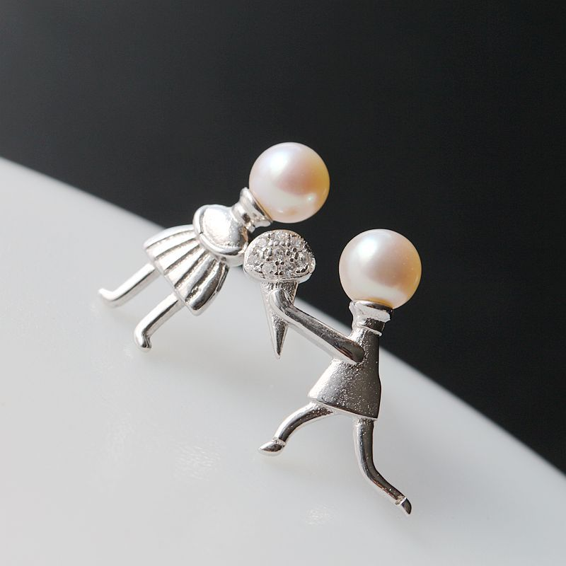 Ecoworld Ge jewelry wholesale jewelry silver 925 boys and girls marry pure Tremella nail set natural pearl earrings