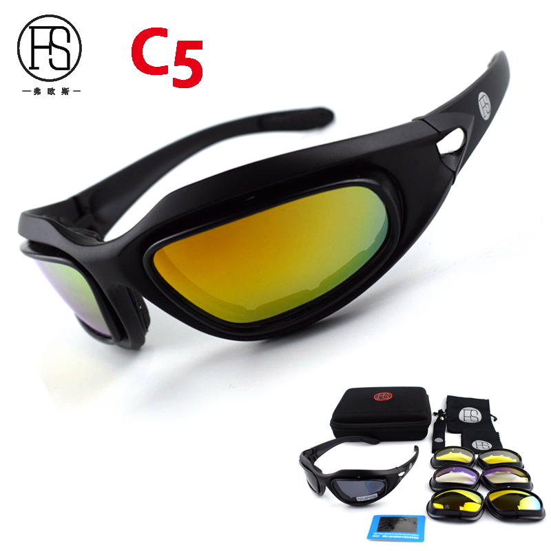 Popular X7 C5 Tactical Polarized Shooting Glasses Men Outdoor Hunting Goggles 4 lenses Kit Hiking Cycling Eyewear