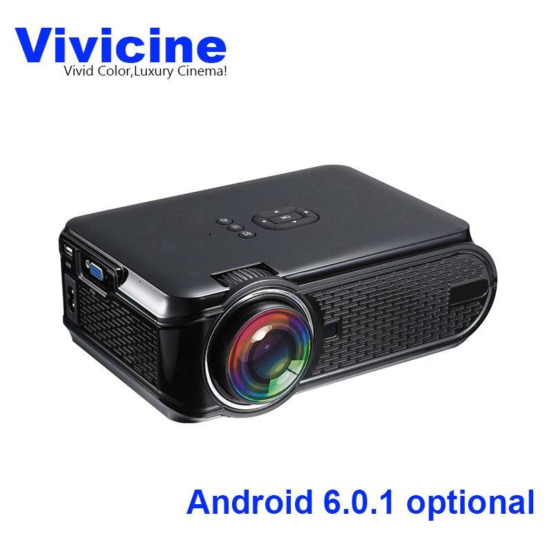 Più nuovo Vivicine Mini Portatile HA CONDOTTO il Proiettore, Opzionale Android 6.0 Miracast DLNA Airplay Wireless WIFI Movie Game Proyector