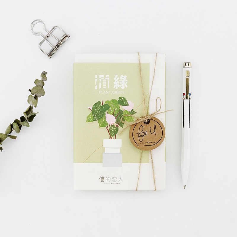 เกาหลีน่ารักพืชสีเขียวโปสการ์ด Kawaii Potted พืชข้อความ Creative กระดาษ Bookmark สดสไตล์เครื่องเขียน