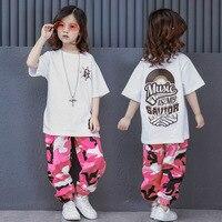 Fashion Pink Camouflage Hip Hop Dance Costumes for Girls Boys Kids Children Women Men Jazz Hiphop Street Dance Suits Clothes